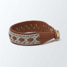 Bracelet artisanal lapon large, camel et argent