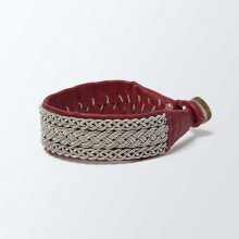 Bracelet artisanal lapon large, de couleur rouge
