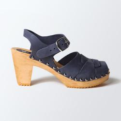 Sabot-sandales à boucle et cloutés en cuir gras bleu marine