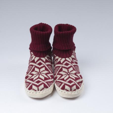 Chaussons-chaussettes bordeaux