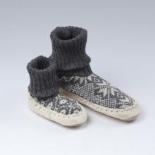 Typique chaussons-chaussettes suédois avec une semelle en cuir véritable et une chaussette grise 100% laine norvégienne. Ces chaussons-chaussettes très agréables sont assemblés et cousus main. Se porte en toute saison. Les pointures commencent au 18, pour les moins de 1 an.