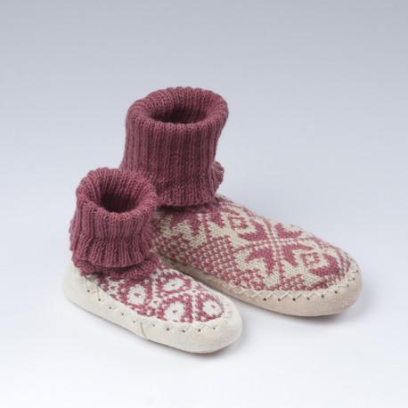 Chaussons-chaussettes roses enfant
