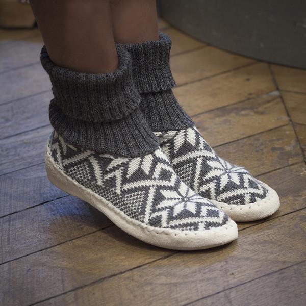 0cedbdba7b3d0 Chaussons-chaussettes gris