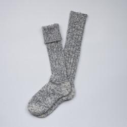 Longues chaussettes danoises en laine grise chinée