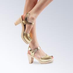 Sabot-sandales en cuir Gold Maguba