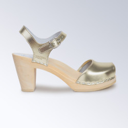 Sabot-sandales en cuir Gold à lanière unique