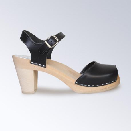Sabot-sandales Maguba en cuir noir