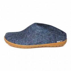 Chaussons Danois bleu jean en feutre de laine
