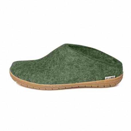 Chaussons Danois vert forêt en feutre de laine