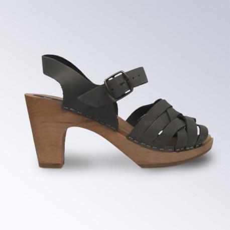 Sabot-sandales talons hauts en nubuck kaki