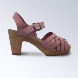 Sabot-sandales tressage large en nubuck rose