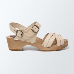 Sabot-sandales en cuir naturel à lanières tressées