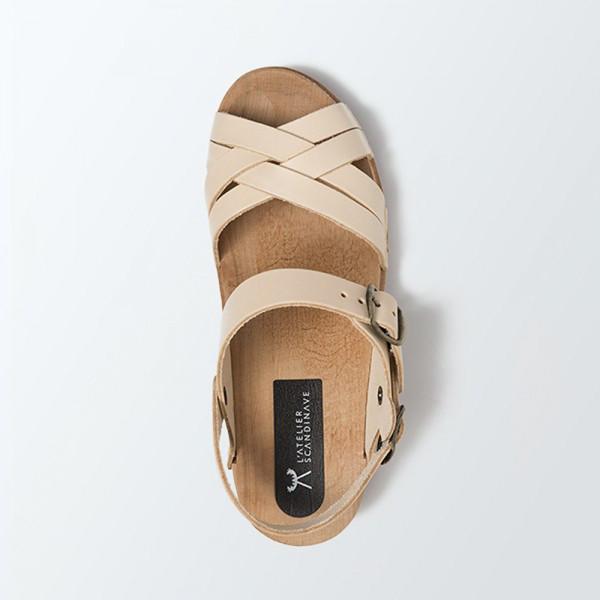 Sabot sandales en cuir naturel lani res tress es - Laniere en cuir ...