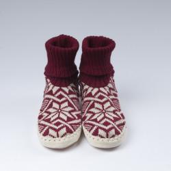 Chaussons-chaussettes bordeaux enfant