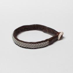 Bracelet artisanal lapon fin, marron et argent
