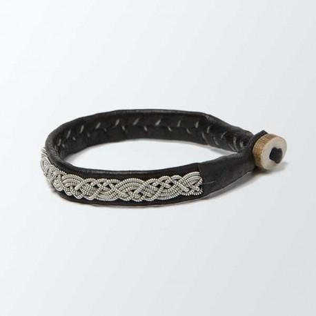 Bracelet artisanal lapon fin, noir et argent
