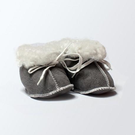 Chaussons fourrés gris bébé