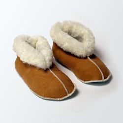 Chaussons fourrés en laine beige adulte