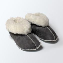 Chaussons fourrés en laine gris adulte