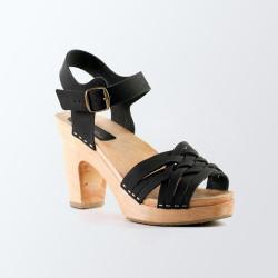 Sabot-Sandales tressage fin en cuir nubuck noir