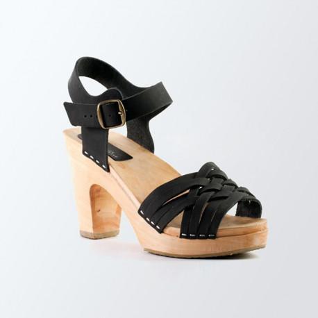 Sandales tressage fin en cuir noir