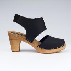 Sabot-sandales stylés en cuir gras noir