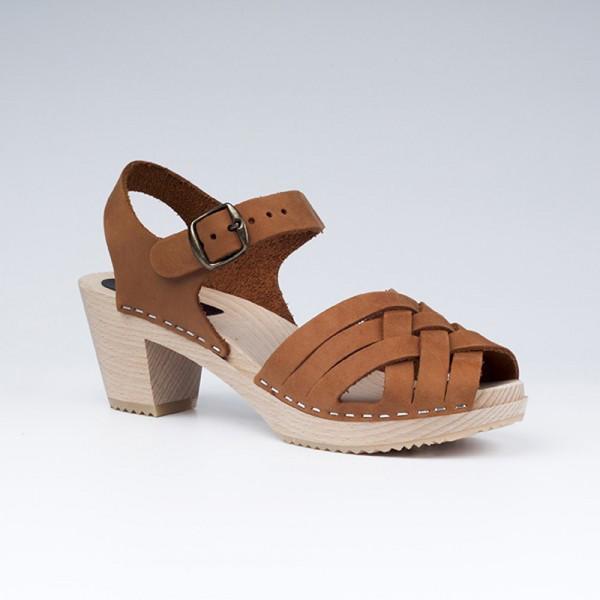 Sabot sandales en cuir gras camel