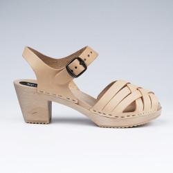 Sabot-sandales tressés en cuir naturel végétal