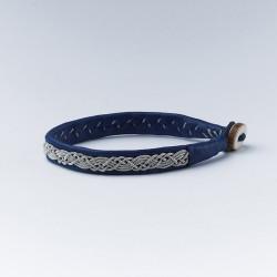 Bracelet artisanal lapon fin, bleu et argent