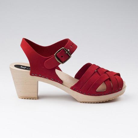 Sabot-sandales tressés en cuir gras rouge