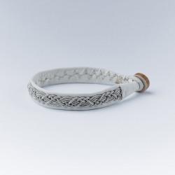 Bracelet artisanal lapon fin, blanc et argent