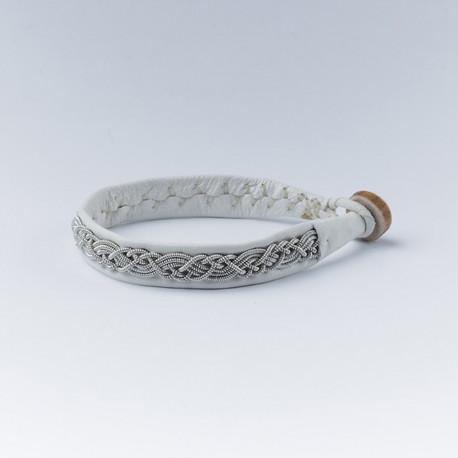 Bracelet artisanal lapon fin, en cuir blanc et fils d'argent