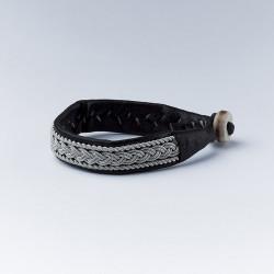 Bracelet artisanal lapon noir et argent