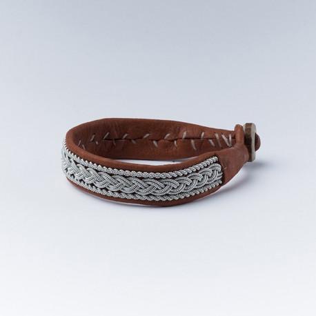 Bracelet artisanal lapon large en cuir camel et fils d'argent