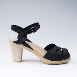 Sabot-sandales en cuir suédé noir perforés