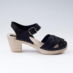 Sabot-sandales tressés en cuir gras noir