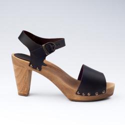 Sandales SANITA by L'Atelier Scandinave en cuir foncé
