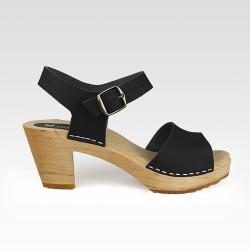 Sabot-sandales en cuir noir à lanière unique